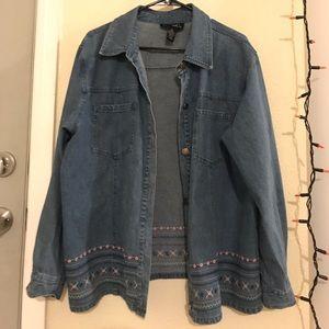 Cute Denim Jacket with Flower Design Size 1x